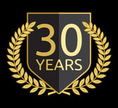 Golden laurel wreath 30 years — Vector de stock