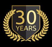 Corona de laurel dorado 30 años — Vector de stock