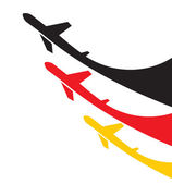 Airplanes background with Germany flag — Stock Vector
