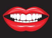 Bayan parlak dudaklar — Stok Vektör