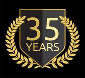 Golden laurel wreath 35 years — Vector de stock