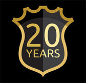 Golden shield 20 years — Vector de stock