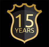 Golden shield 15 years — Stock Vector