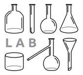 Conjunto de equipos de laboratorio — Vector de stock
