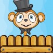 Cute monkey with hat and bow — Stock Vector