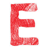 Sketch letter E isolated on white background — Stock Vector