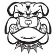 Angry bulldog head black and white — Stock Vector