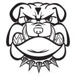 Angry bulldog head black and white — Stock Vector