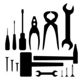 Hand tool silhouette set — Stock Vector