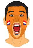 Netherlands fan face — Stock Vector