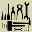 Stock Vector: Hand tool silhouette set