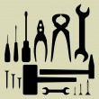 Hand tool silhouette set — Stock Vector #35755413