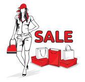 Schöne frau mit einkaufstüten — Stockvektor