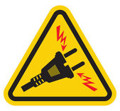 Triangle High Voltage Warning Sign — Stock Vector