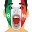 Mexico fan face — Stock Vector