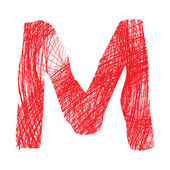 Sketch letter M isolated on white background — Stock Vector