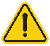 Hazard warning attention sign with exclamation mark symbol — Stock Vector