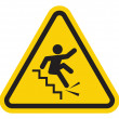 Warning falling off the stairs sign — Stock Vector