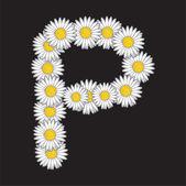 Daisy flower letter — Stock Vector