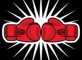 Boxing gloves strike — Stock Vector