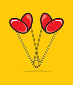 Heart shape paper clips — Stock Vector