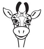 Giraffe black and white — Stock Vector