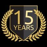 Golden laurel wreath 15 years — Stock Vector
