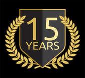 Corona de laurel dorado 15 años — Vector de stock