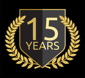 Corona di alloro d'oro 15 anni — Vettoriale Stock