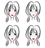 Portrait illustration girl — Stock Vector