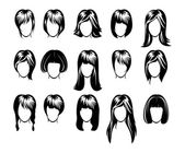 Big hairstyle collection — Stock Vector