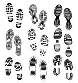 The collection of a imprint soles shoes — Stock Vector