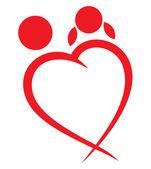 Rood hart jongen en meisje symbool — Stockvector