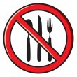 Stock Vector: No eating, no food allowed