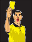 Soccer referee giving yellow card (football judge hand with yell — Stock Vector