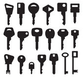 Big Key Black Silhouette collection — Stock Vector
