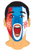 Serbia fan face — Stock Vector