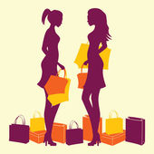 Woman silhouette in shopping — Stock Vector