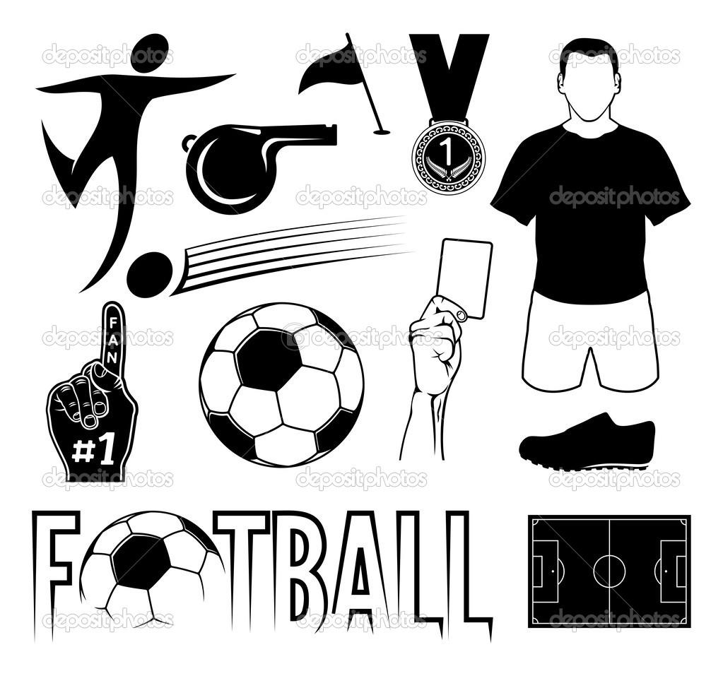 Set di simboli di gioco del calcio — Vettoriali Stock ...