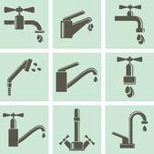 Vatten kran ikoner — Stockvektor