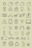 Conjunto de iconos delgados — Vector de stock