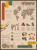 Vintage infographics set business concept — Stock Vector