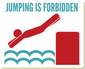 No diving and jumping sign — Stock Vector