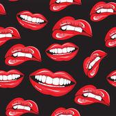 Lippen naadloze patroon — Stockvector