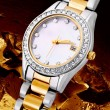Silver and gold exclusive watch — Stok fotoğraf
