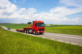 Truck Speeding on Country Road, Blurred Motion — Stok fotoğraf