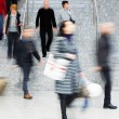Commuters Walking Up Stairs, Motion Blur — Stock Photo