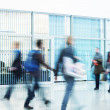 People Rushing through Corridor, Motion Blur — Stockfoto