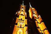 Cathedral in Ostrow Tumski at Night, Wroclaw, Poland — Stock Photo