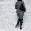 Businesswoman Walking Up Stairs, Motion Blur — Stock Photo